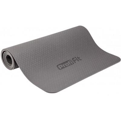 Коврик для йоги и фитнеса PROFI-FIT, 6 мм, СТАНДАРТ (серый)